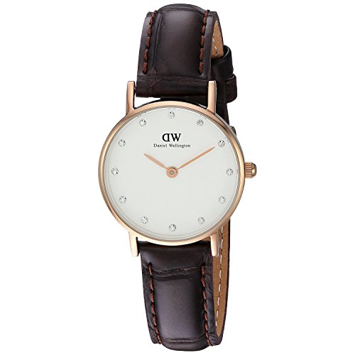 Armbanduhr Quarz Rose Daniel Damen Wellington Dw00100061 weiß Leder Gold Analog Nv8nwmO0
