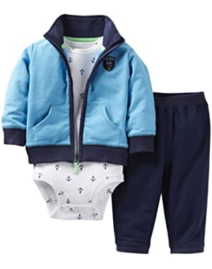 Baby Boys' 3 Piece Cardigan Set (Baby) - Blue - 9 Months