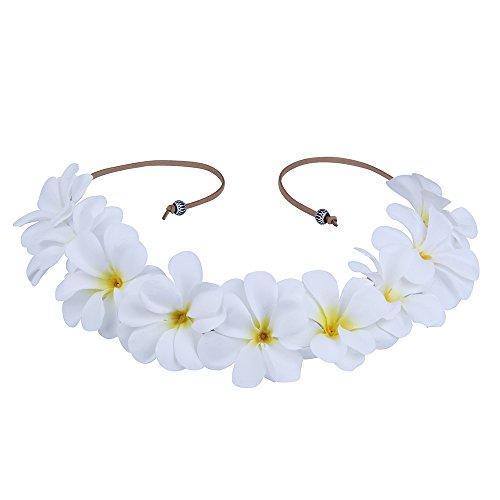 RoyaLily Hawaii Beach Luau Party Tie Back Headband Plumeria Boho Flower Halo Crown (White Yellow) (White Plumeria Flower)