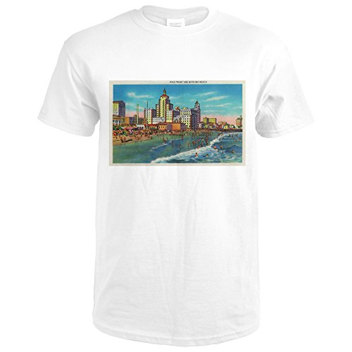 Pike Front and Bathing Beach, Long Beach (Premium White T-Shirt - Long The Pike Beach