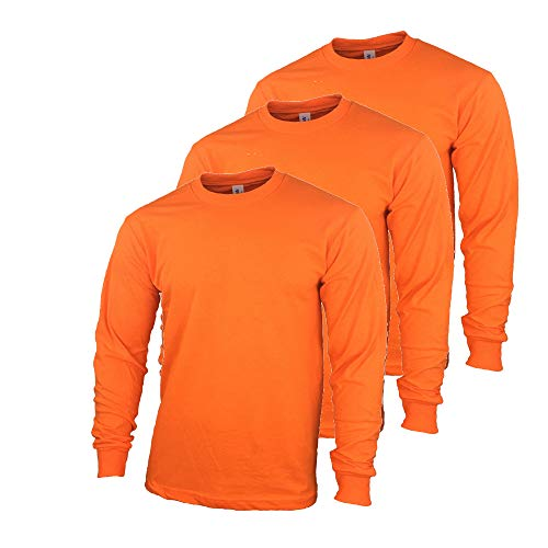 Safety High Visibility Long Sleeve Construction Work Shirts Pack for Men (Safety Orange (3pk), Medium)