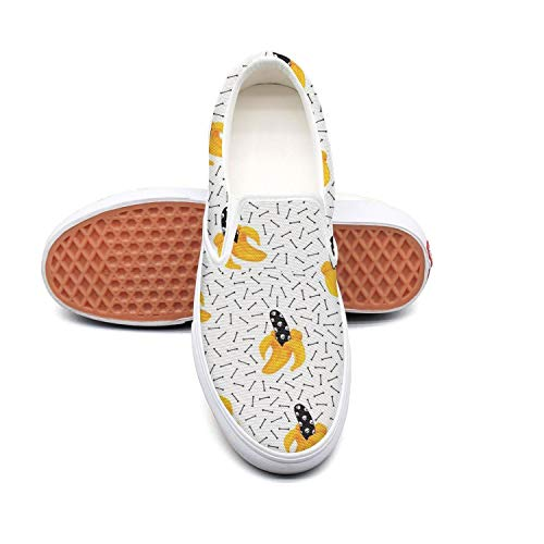 Banana Skull Slip On On Slip Canvas Upper Loafers Canvas Shoes for Women Round Toe B07H8X2LPM Parent 00d5c4