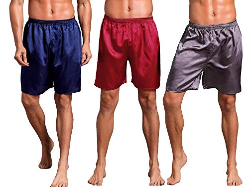 Mobarta Men's Satin Boxers Silk Sleepwear Underwear Shorts Lounge Beach Shorts (3 Pack(Blue+Gray+Red), X-Large(Waist 36
