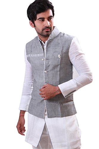 Saris and Things White Pathani Suit with Jacket for Men