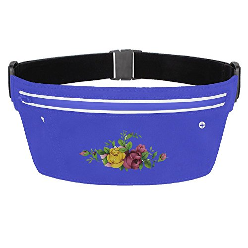 Running Belt Waist Pack Yellow And Red Flower With Adjustable Elastic Strap
