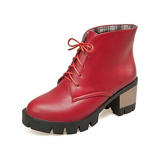 Natural Wonders Bouquet (WeiPoot Women's Low Top Solid Lace-Up Round Closed Toe Kitten Heels Boots, Red,)
