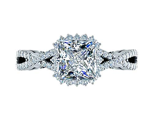 - 1.80 Ctw. Princess Halo Square Diamond Engagement Ring Intertwined Shank Custom Filigree 14k White Gold Fine Jewelry
