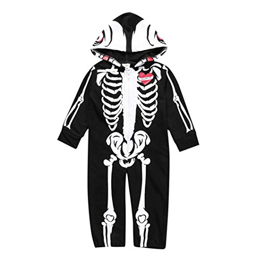 TLoowy 2017 Halloween Toddler Baby Boy Cute Skeleton Print Romper Jumpsuit Outfits Clothes Costume (0-6M, Black)