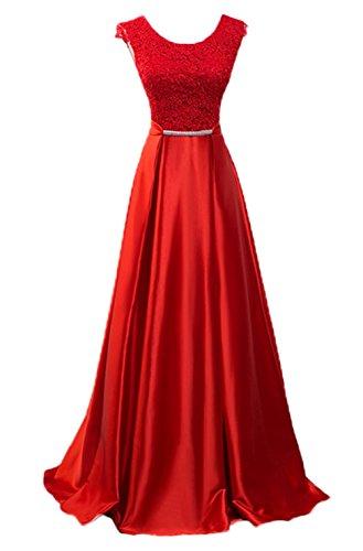 vestido A línea de Perl Scothen Aplique noche Mujeres de Encaje Banda Tulle Festivo bola bordado de Sash vestido Perl de Bordado Boda Vestido Tulle cuello redondo Bordado honor cóctel Rojo vestido vestido qFpPq