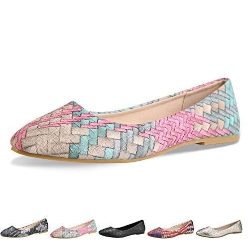 Walking Flats Women's Shoes Black Comfortable Ballet Soles Simple Ballerina Flats (5-5.5 B(M) US / CN37 /9.2'', Blue)