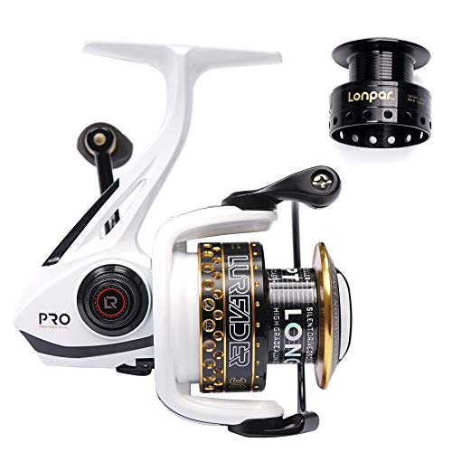(LONPAR Spinning Fishing Reel Double Worm Shafts 9+1 BB Lightweight Smooth Drag up To 33 Lbs/15 Kg Two Spools Included Selectable Anti-Reverse Right/Left Handle Fishing Reel for Saltwater or Freshwater)