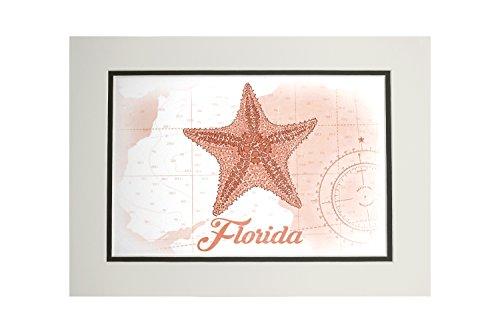 Amazon.com: Florida - Starfish - Coral - Coastal Icon (11x14 Double ...