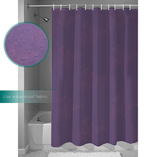 LALADecor Vintage Shower Curtain Hand Drawn Purple Flowers And Grass Illustration Bathroom Decoration Polyester Fabric