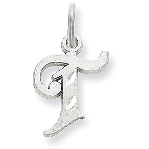 14k White Gold Diamond-cut Cursive Script Initial Pendant - Letter T - White Gold 14k Initial Pendant