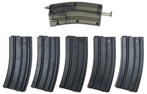 M4 Mid Cap (Airsoft M4/M16 Mid-Cap Polymer Magazines x 5 - 140 Round No Wind Mags w/ 400 rd Speed Loader - G&G JG Dboys)