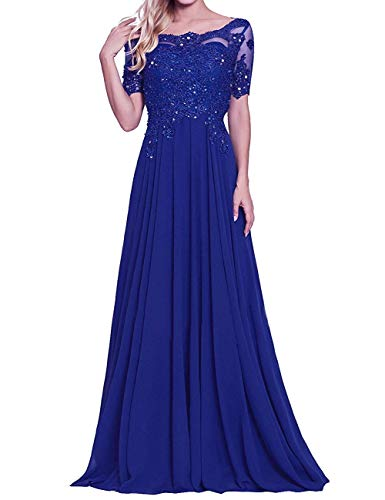 urph56456Kit Women's Lace Appliques Chiffon Mother of The Bride Dresses Scoop Neck Beaded Prom Evening Party Formal Gowns Royal Blue