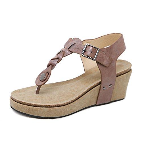 Marron Bohème Eté Sandales Peep pour Plage Tongs Toe Chaussures Ruiren Dames Ronde Compensées Sandales Post Femmes wAqIYn1Z