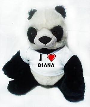 Panda de peluche (juguete) con Amo Diana en la camiseta (nombre de pila
