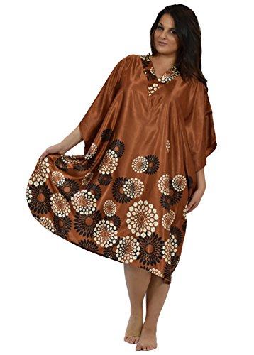Muumuu Caftan - Up2date Fashion Women Satin Short CaftansOneSizeSpheroidFloral