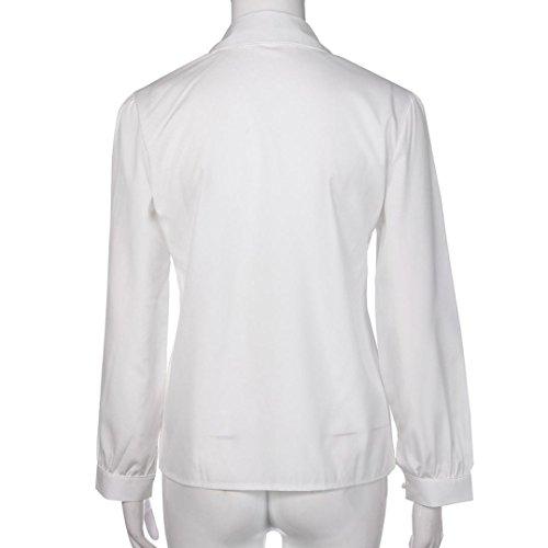 bluse camicetta Donna manica Bianco casuale camicia lunga solido Amlaiworld elegante bavero W4zTtnqd