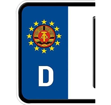 2 Bici Coche Número de matrícula Característica Placa Ostalgie Emblema de la RDA Pegatina: Amazon.es: Coche y moto