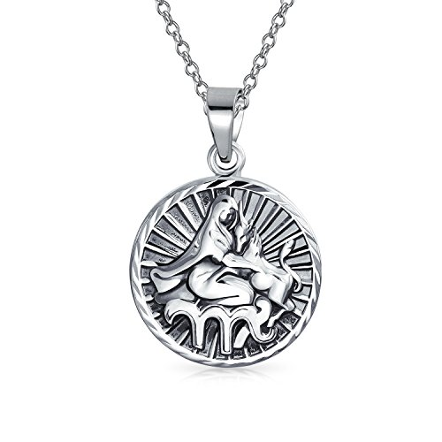 Virgo Zodiac Sign Astrology Horoscope Round Medallion Pendant For Men Women Necklace Antiqued Sterling Silver (A Man Without A Woman Silver Dollar)