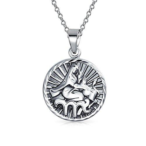 (Virgo Zodiac Sign Astrology Horoscope Round Medallion Pendant For Men Women Necklace Antiqued Sterling Silver)