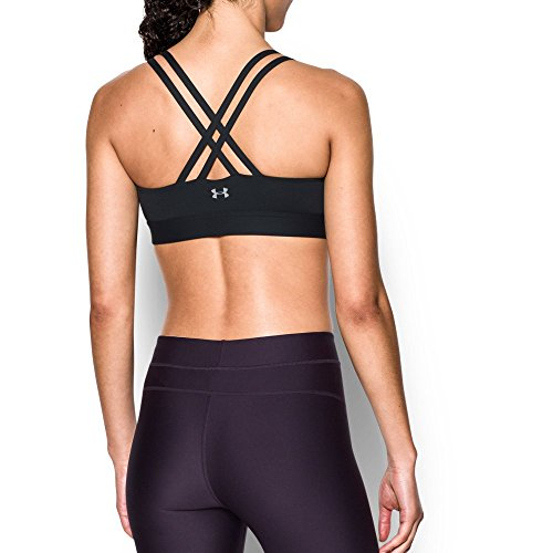 Under Armour Women's Armour Eclipse Low Impact Sports Bra, Black/Metallic Silver, X-Small