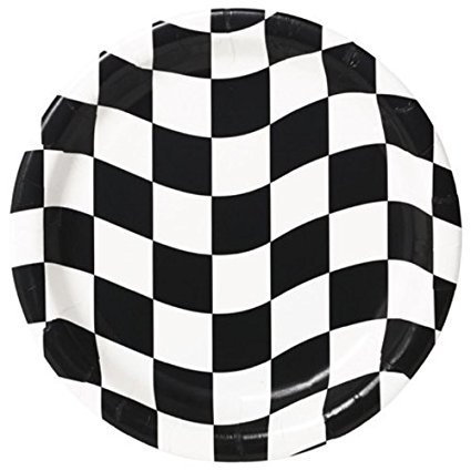 Creative Converting 24 Count Round Dinner Plates, Black and White - William Check