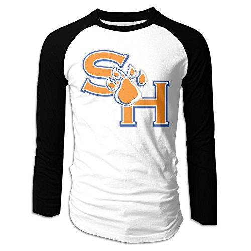 Creamfly Mens Sam Houston State University Long Sleeve Raglan Baseball Tshirt S