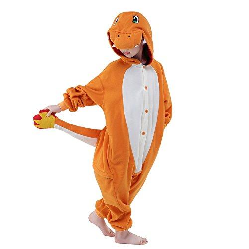 JINGCHENG Children's Christmas Halloween Pikachu Charmander Onesies Kigurumi Costume (10, Charmander) -