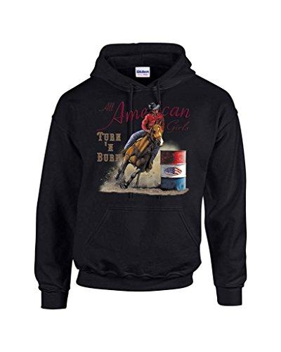 T-ShirtQueen Men's Turn N Burn Barrel Racing Rodeo Cowgirl Hoodie Sweatshirt Medium Black