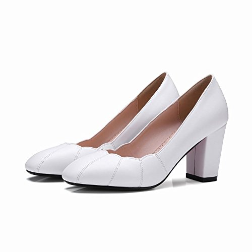 Toe Womens Dress White Heels Fashion High Shoes Pumps Chunky Carolbar Square EqFdUU