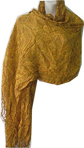 Liz Claiborne Scarf - Liz Claiborne New York Paisley Printed Scarf (One Size, Yellow)