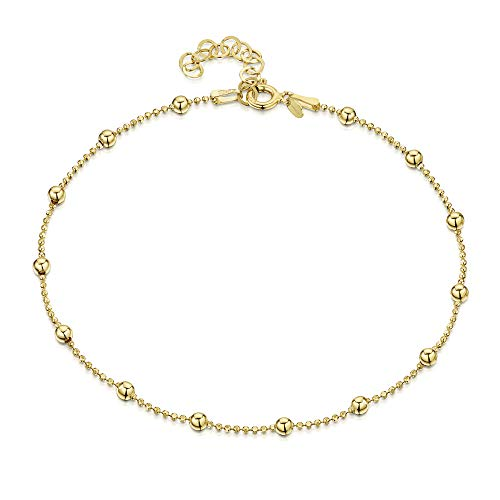 "18K Gold Plated on 925 Fine Sterling Silver 3.2 mm Adjustable Anklet - Ball Bead Chain Ankle Bracelet - 9"" to 10"" inch - Flexible Fit from Amberta"