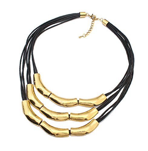 Womens Multilayer Pendant Choker Necklace Strands Leather Cord Chain Gold (Vintage Black & Gold Necklace)