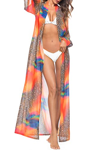 (Anatoky Women's Chiffon Bohemian Floral Printed Long Split Sleeve Beach Beachwear Bikini Swimsuit Cover Up Dress (Medium, Leopard Orange) )