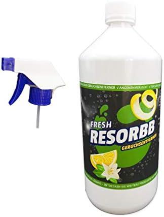 RESORBB® FRESH Anti-Rauch 1l. + Sprühkopf Dieser wasserlösliche Geruchsneutralisierer eignet sich für glatte Oberflächen und kann auch als Raumspray verwendet werden