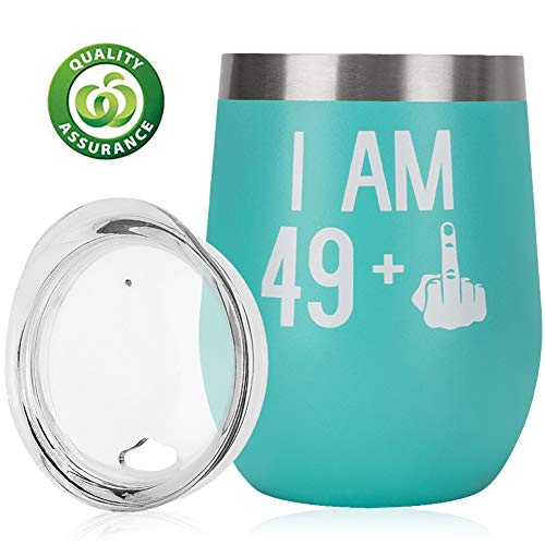 50th Birthday Gifts for Men Women| Funny Gift Ideas 49 + 1 Finger | 12oz Stemless Wine Tumbler with Lid | Personalize Anniversary Gifts For Him Her | 50 Bday Party Decorations For Family Friends ()