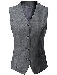Women's Fully Lined 4 Button V-Neck Economy Dressy Suit Vest Waistcoat