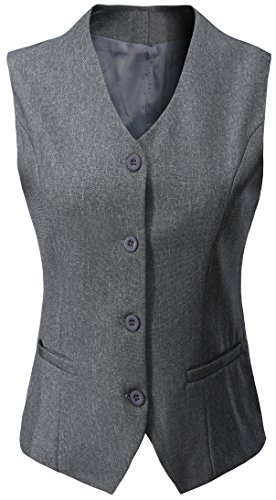 Vocni Women's Fully Lined 4 Button V-Neck Economy Dressy Suit Vest Waistcoat, Light Gray, US XS/Asia M by Vocni