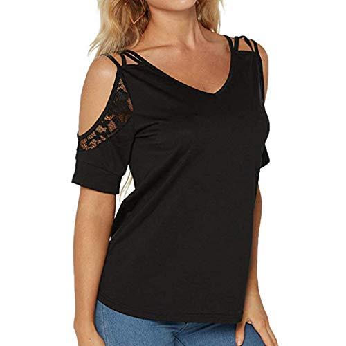 Damen Rundhalsausschnitt Cold Shoulder Kurzarm T-Shirt Top Bluse