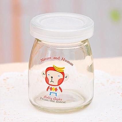 Aliciashouse Vidrio con leche Yogurt botella de 100ML dibujos animados mono resistente - alta temperatura