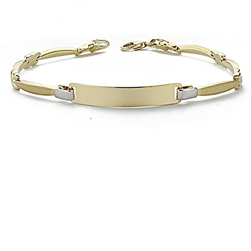 Gourmette 18k gold 18cm bicolor. sections semi-rigides [8050]