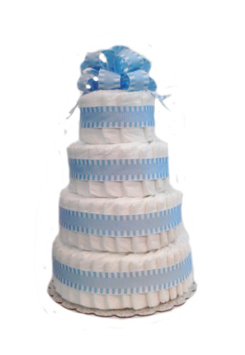 [Classic Pastel Baby Shower Diaper Cake (4 Tier, Blue)] (4 Tier Baby Cake)