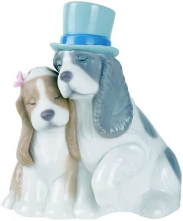 Nao by Lladro Collectible Porcelain Figurine TOGETHER FOREVER – 4 3 4 tall – puppy dogs in love