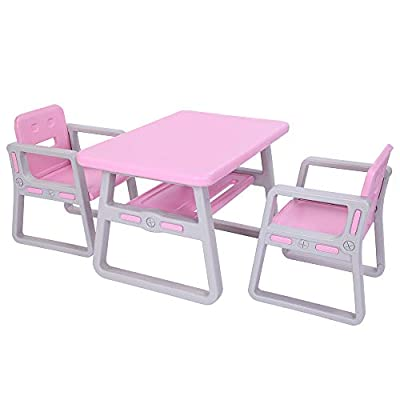 Kids Table and Chairs Set - Toddler Activity Chair Best for Toddlers Lego, Reading, Train, Art Play-Room (2 Childrens Seats with 1 Tables Sets) Little Kid Children Furniture Accessories - Plastic Des: Kitchen & Dining