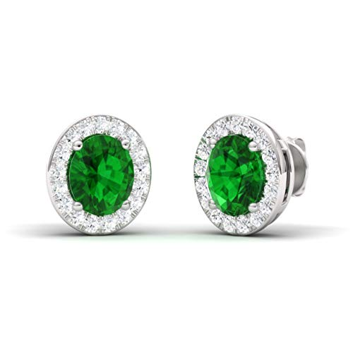 (Diamondere Natural and Certified Oval Cut Emerald Halo Diamond Earrings in 14K White Gold   0.96 Carat Earrings for Women)