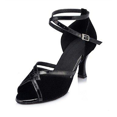 Black Latino No Zapatos Personalizables Tacón baile de Negro Carrete fwqfWz8tS