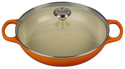 (Le Creuset of America Enameled Cast Iron Buffet Casserole with Glass Lid, 3 1/2 quart, Flame)